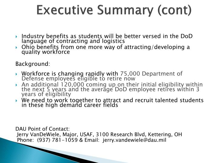 Executive Summary (cont)