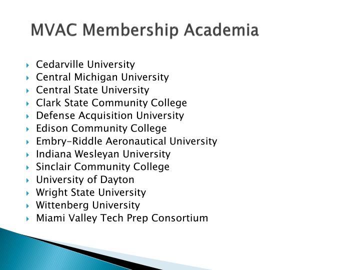 MVAC Membership Academia