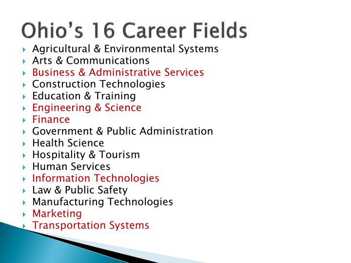 Ohio's 16 Career Fields