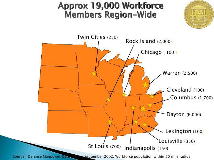 Approx 19,000 Workforce Members Region-Wide