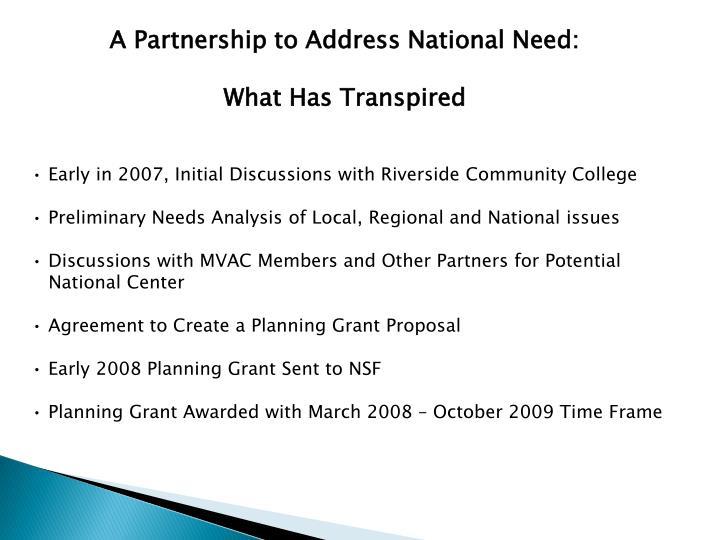 A Partnership to Address National Need: