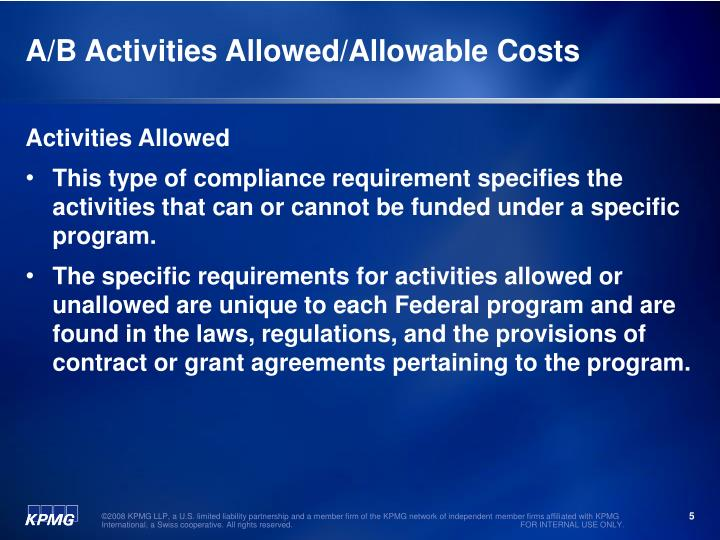 A/B Activities Allowed/Allowable Costs