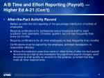 a b time and effort reporting payroll higher ed a 21 con t1