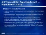 a b time and effort reporting payroll higher ed a 21 con t2