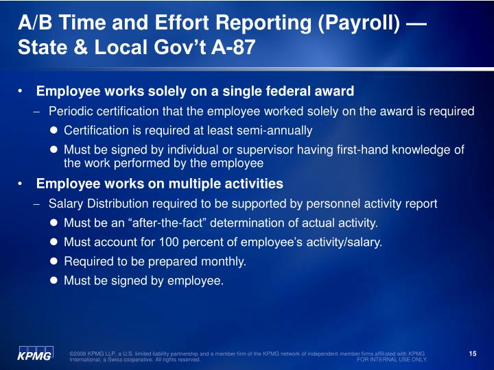 A/B Time and Effort Reporting (Payroll) —State & Local Gov't A-87