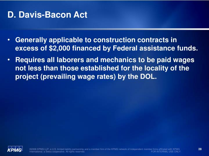 D. Davis-Bacon Act