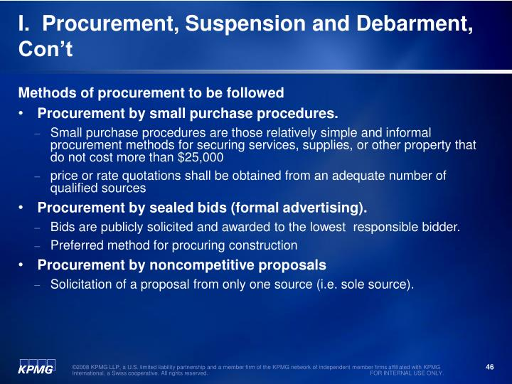 I.  Procurement, Suspension and Debarment, Con't