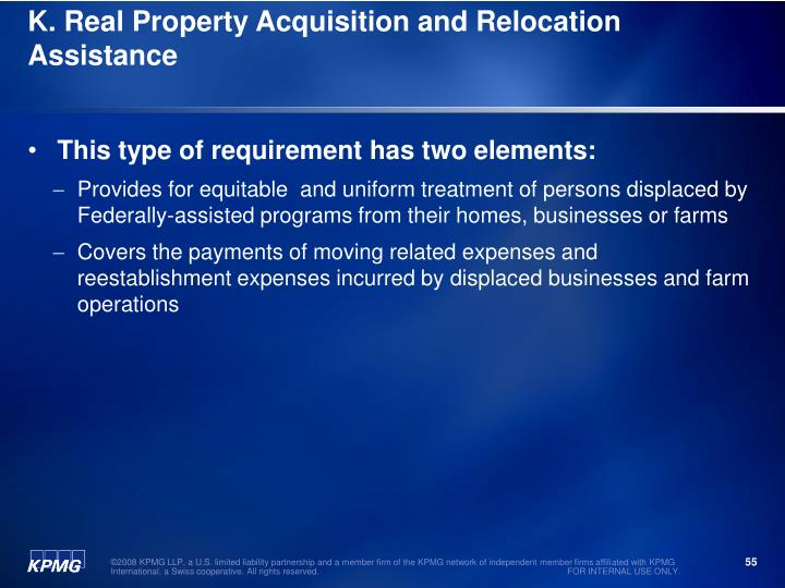 K. Real Property Acquisition and Relocation Assistance