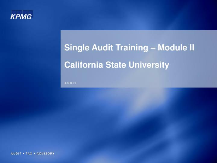 Single Audit Training – Module II