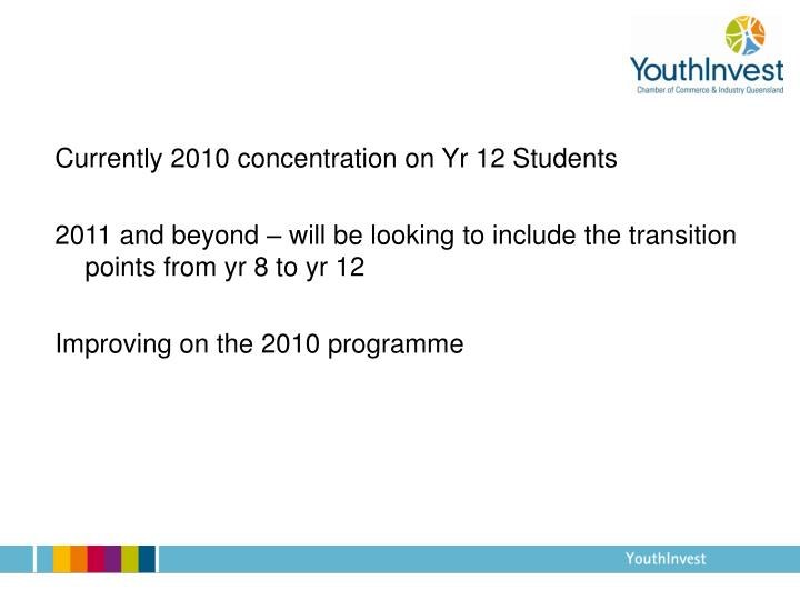Currently 2010 concentration on Yr 12 Students