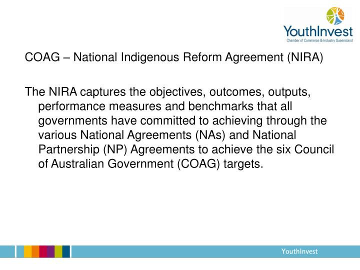 COAG – National Indigenous Reform Agreement (NIRA)