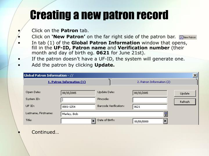 Creating a new patron record
