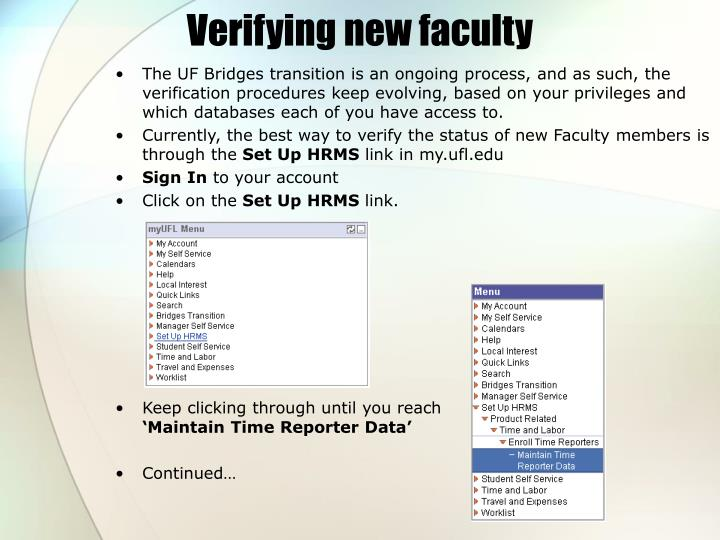 Verifying new faculty