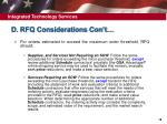d rfq considerations con t