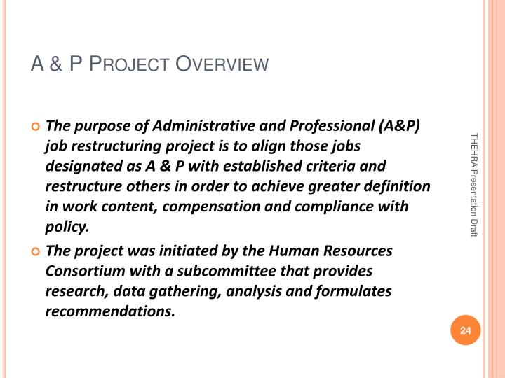 A & P Project Overview