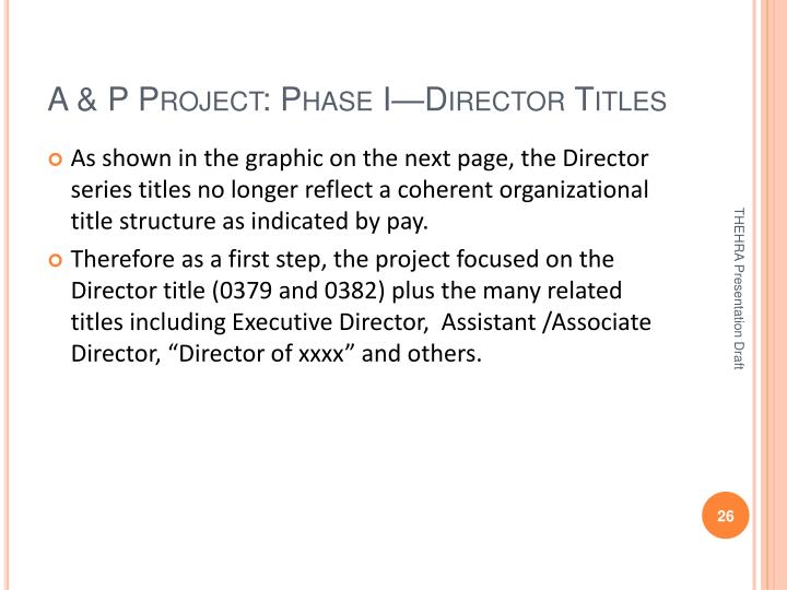 A & P Project: Phase I—Director Titles