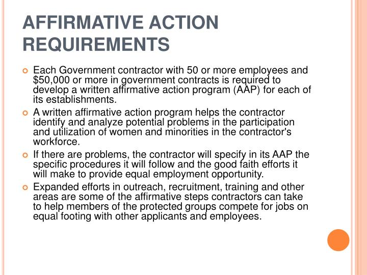 AFFIRMATIVE ACTION REQUIREMENTS
