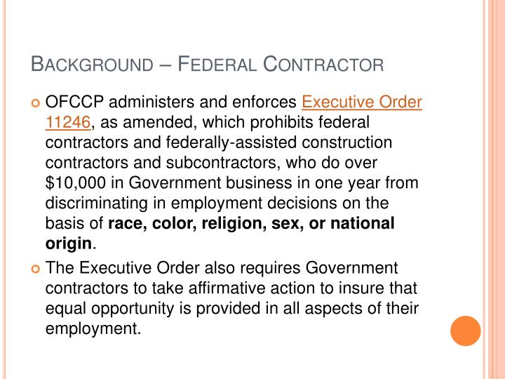 Background – Federal Contractor
