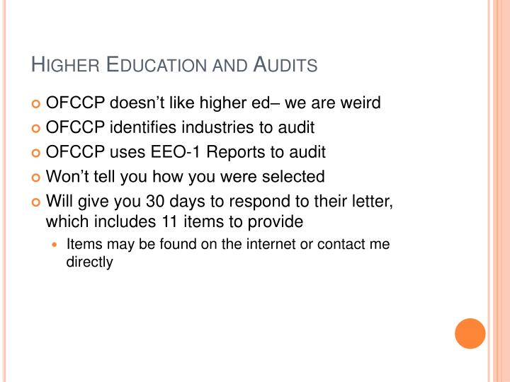 Higher Education and Audits