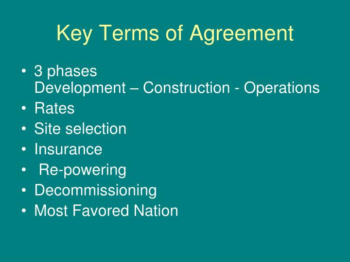 Key Terms of Agreement