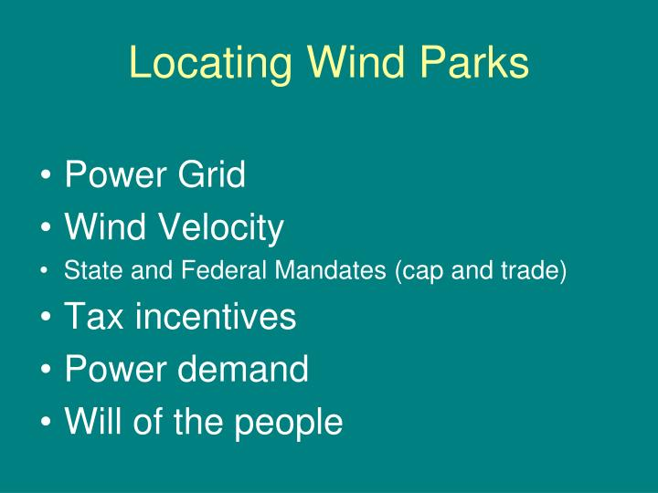 Locating Wind Parks