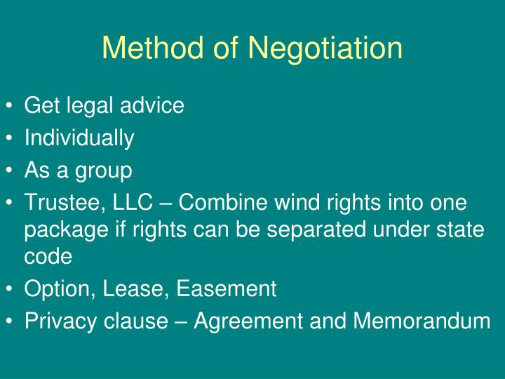 Method of Negotiation