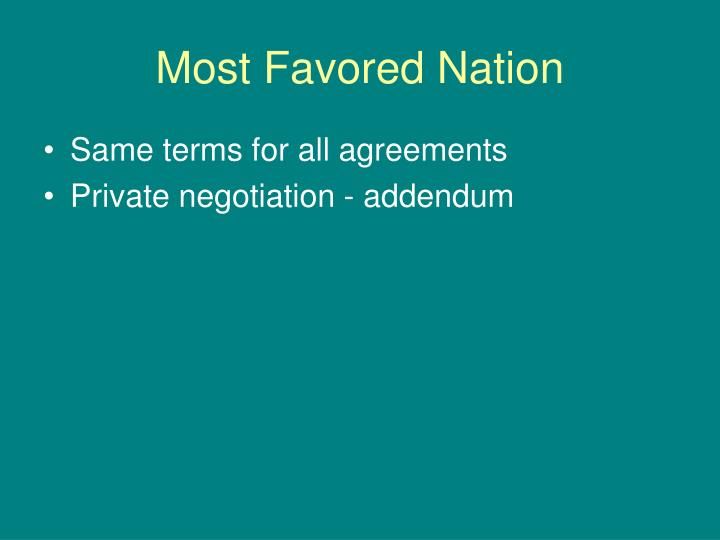 Most Favored Nation