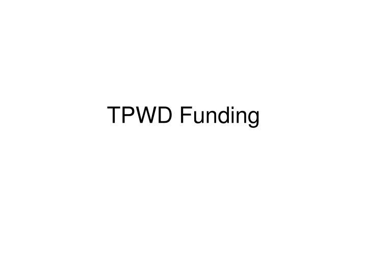 TPWD Funding