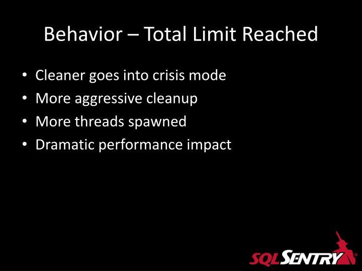 Behavior – Total Limit Reached