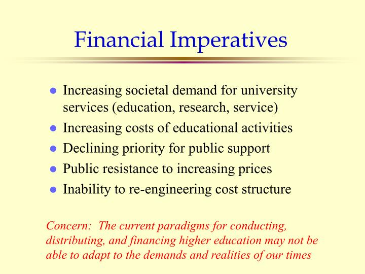 Financial Imperatives