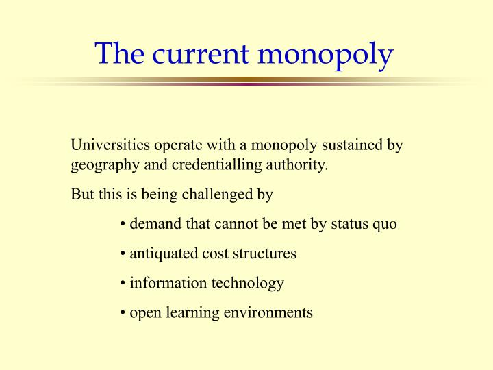 The current monopoly