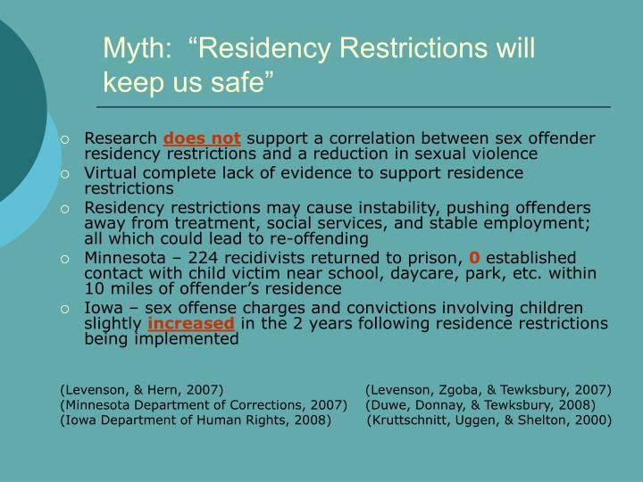 "Myth:  ""Residency Restrictions will keep us safe"""