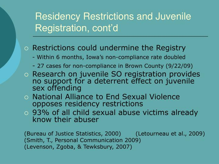 Residency Restrictions and Juvenile Registration, cont'd