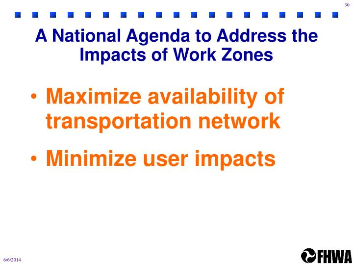 A National Agenda to Address the Impacts of Work Zones