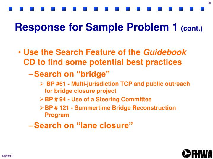 Response for Sample Problem 1