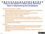 role of the aashto work zone technical team in maintaining the guidebook