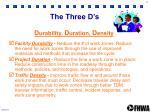 the three d s