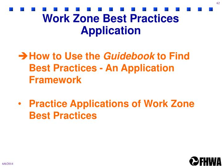 Work Zone Best Practices Application