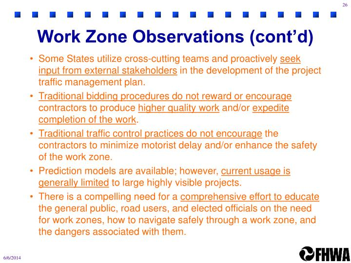 Work Zone Observations (cont'd)