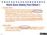 work zone safety fact sheet 1