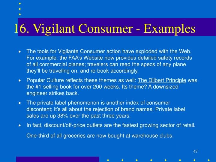 16. Vigilant Consumer - Examples