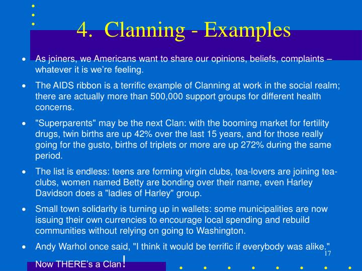 4.  Clanning - Examples