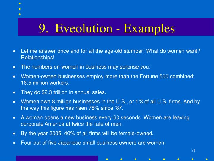 9.  Eveolution - Examples