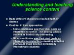 understanding and teaching science content