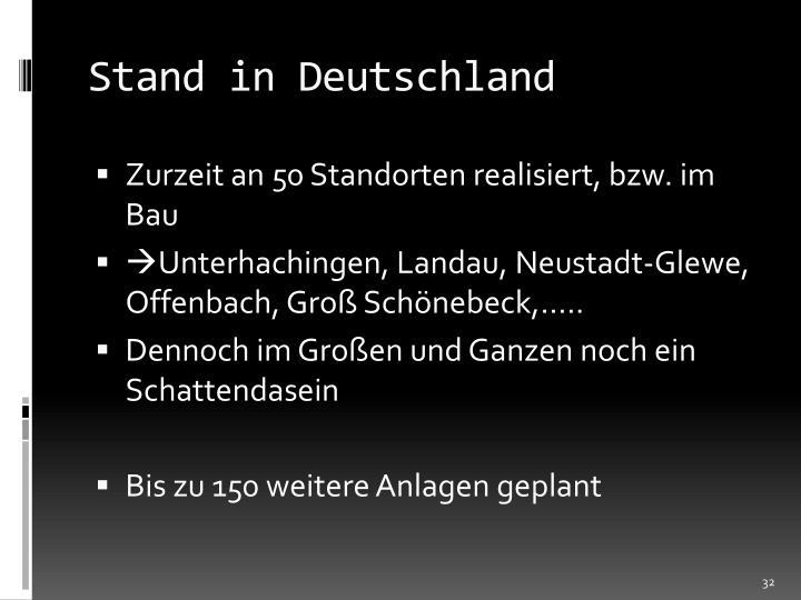 Stand in Deutschland