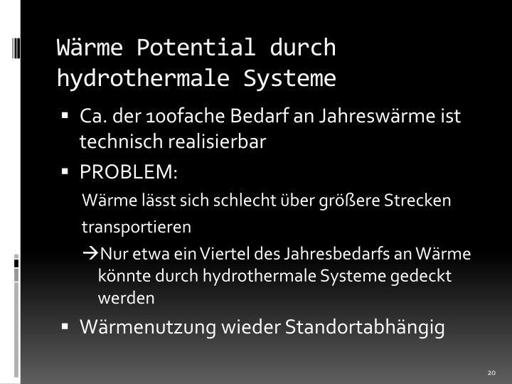 Wärme Potential durch hydrothermale Systeme