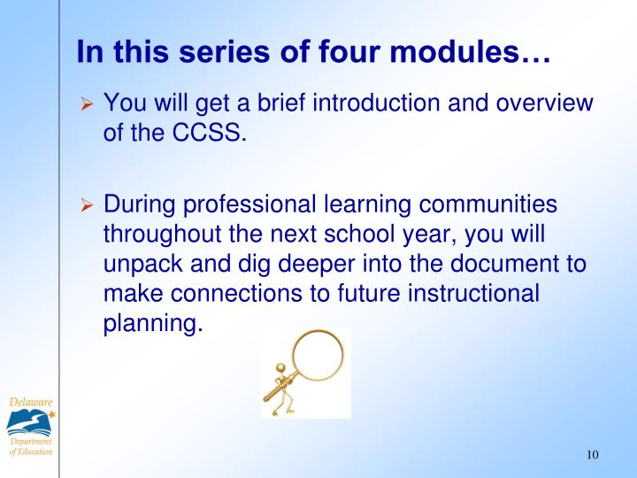 In this series of four modules…