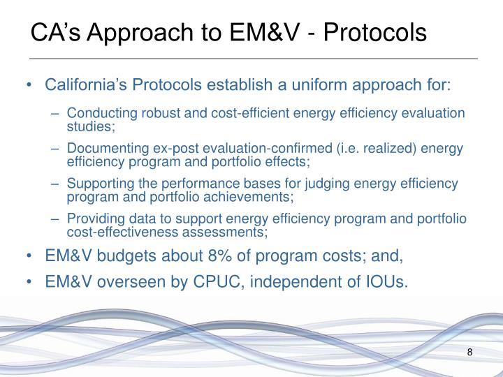 CA's Approach to EM&V - Protocols
