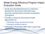 model energy efficiency program impact evaluation guide