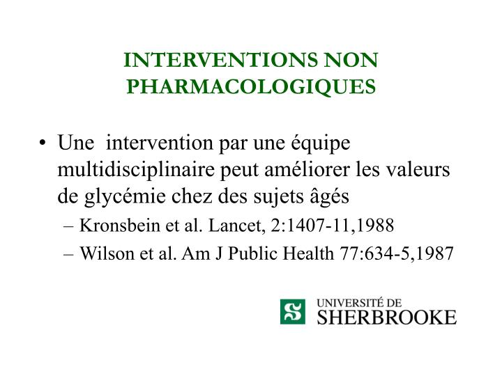 INTERVENTIONS NON  PHARMACOLOGIQUES